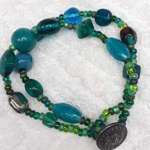 Double Strand Glass Beaded Bracelet